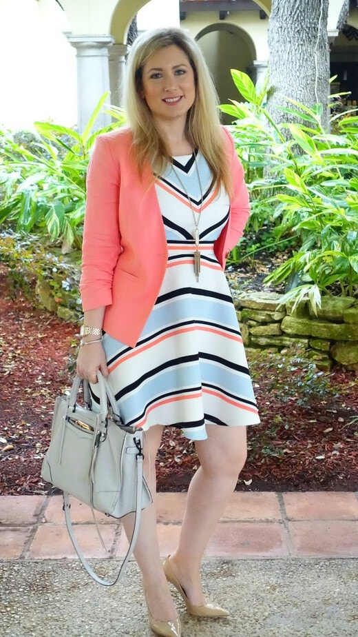 Peach Blazer, Target Dress, Rebecca Minkoff Regan Satchell, LUISAVIAROMA, Jimmy Choo Abel Pump