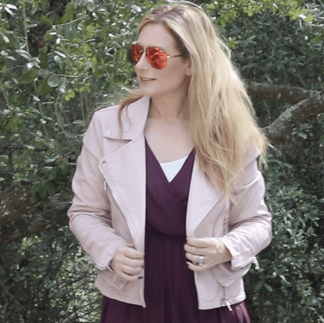 BlankNYC Moto Jacket with Lush Dress and Quay Aviators on MsGoldgirl