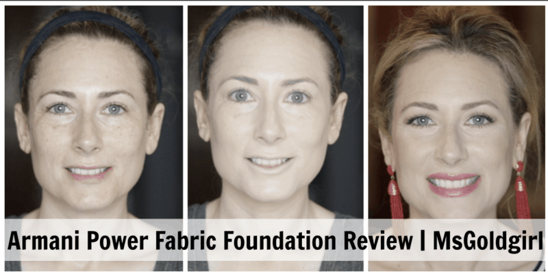 This is my review of the new Giorgio Armani Beauty Power Fabric Foundation. First picture is with no makeup, then with just the foundation, then with a full face of makeup.