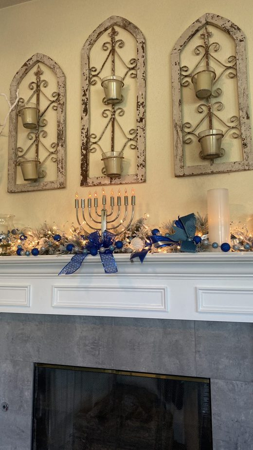 Hanukkah Decorations Fireplace Mantel